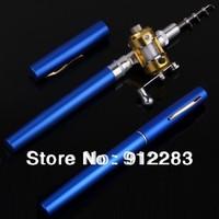 Free Shipping 5pcs Blue Mini Pocket Aluminum Alloy Pen Fishing Rod Pole w/ Reel SZ069