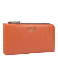 2013 New style fashion elegant genuine leather brand wallet High quality cowhide clutch card bags Rose red\Orange