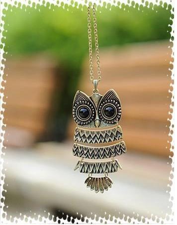 1 piece Free shipping vintage bronze owl pendant necklace(China (Mainland))