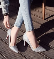 2014 Sping  New Arrival Glitter Thin Heels Basic Elegant Women Pumps
