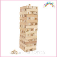 51-piece Wooden Jenga game toppling tower Stacking toy for kids and adults free shipping