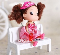 12CM Colorful Lovely Mini Dolls With Dress For Baby Girls Gift 6Pcs/Lot Free Shipping