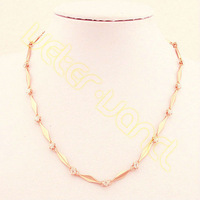 Wholesale&Retail Fashion Jewelry  Women's 4MM 45.6CM Rose Gold Filled Necklace w Beautiful Crystal MX43
