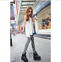 1pcs .Women Fashion Leggings,Personality stripes stars splicing prinit legging pants  free shipping BS170