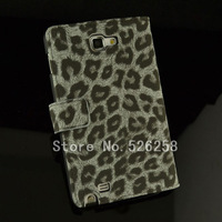 Leopard Retro Stand Wallet handbags design leather cover phone case for Samsung Galaxy Note i9220 N7000 FREE SHIPPING