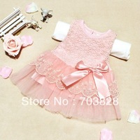 Free shipping Girls lace dress Kids lace dress Baby tank dress Child tank dress Girls tutu dress  2colors Summer