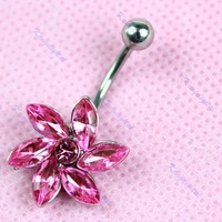 Free Shipping Hot Belly Rings Crystal Gem Fashion Flower Navel Rings Body Piercing Jewelry Surgical Steel 1pc