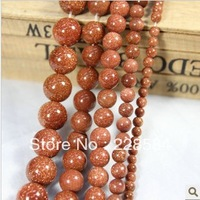 Free Shipping DIY Jewelry,10mm Natural Stone,Gold Sand Stone Beads,Loose Semi-Precious Stones Beads,152 /Lot