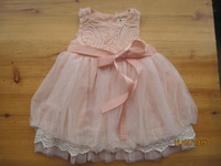 Free Shipping  Summer Girl Rose Lantern Dress With Ribbon  Children White Princess Dress Wholesale 5pieces/lot