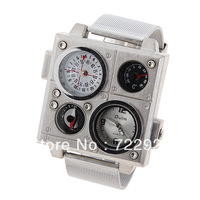 New wholesale retail Oulm stainless steel mesh belt watch double movement thermometer compass watch brown Relogio