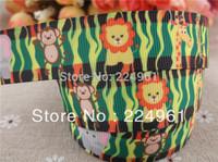 "2013 new arrival 7/8"" (22mm) Lions, elephants, monkeys, giraffes printed grosgrain ribbon lovely animals ribbon 10 yards"