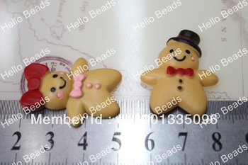 50pcs/lot Kawaii Cabochons Mr & Mrs Gingerbread Man Cabochon For Phone Case Decoration