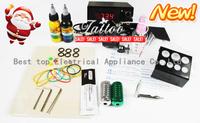 Free Shipping Beginner Cheap Tattoo Starter Kits Tattoo Machine Gun Power Supply Needles 2 Inks BT-TK901-1