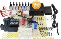 Free Shipping Tattoo Kit Beginner 2 Pro Machine Gun Power Supply Foot Pedal Needles Grip Tip Ink BT-TK901-3