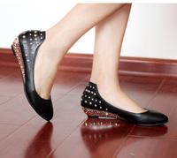 2014 Hot-Selling Rivet Rhinestone Small Wedges Shoes Flats for Women Fashion Rivet Shoes Free Shipping