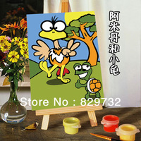 DIY digital oil painting Free shipping the picture unique gift home decoration 10X15cm Amigo and small turtles paint by number