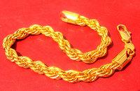 Men's 24k Yellow Gold Filled Rope Bracelet China Bridge piece Unique Jewelry 8.6