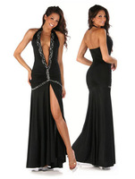 High quality  black long backless Women Sexy club wear European American style star Fshion dress front slit deep V party dress