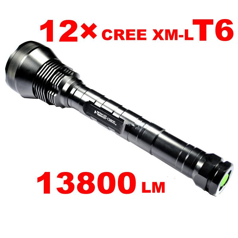 Фонарик OEM 13800 12 x CREE xm/l T6 18650 3 x 26650 JNC-FL12T6 ручной фонарик jetbeam rrt02 780 18650