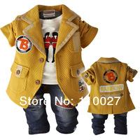 2014 baby 3pcs spring leisure sets clothing set rainbow cotton jacket + t shirt + jeans denim suits fashion clothes gentleman