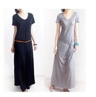 2014 Spring Summer New Women's Modal Cotton Floor-length Long Dress Plus Size One-piece Short Sleeve DressV-neck Plus Size Black