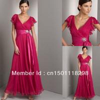 v-neck short sleeve floor length chiffon formal evening dress pageant dress for little girl 2013 new arrival