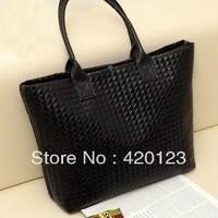 Hot selling crossed knitted bag  shoulder bag big purse candy color