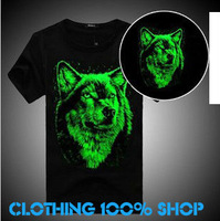 Free Shipping 2013 New Fashion Luminous 13 lovers t-shirt short-sleeve neon t shirt male 3d loose o-neck hiphop Men AO3#21