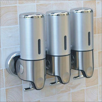 dispensador Wall Mounted Three-Head Stainless Steel and ABS Sanitizer Dispensers, Large Capacity 500ml*3 Liquid Soap Dispensers