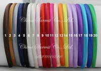 Sample Order 45pcs/lot 45 Colors Ribbon Covered Adult & Kids Headbands Satin Headbands Children Headbands HairBand Free Shipping