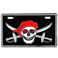 Free Shipping  Stylish Pirate Skull Pattern DIY Aluminum License Plate  - 1PCS