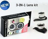 Universal Clip Contact Lense Fish Eye Lense+ Macro + Wide Angle  for iphone Samsung S3 S4 N7100 HTC 3 in1 lens  CL-15-16
