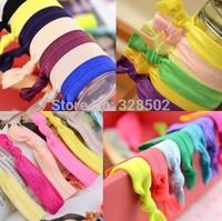 Free shipping 100pcs Fold Over Elastic Hair Ties bracelet hair tie elastic wristbands ponytail holder for girls kids