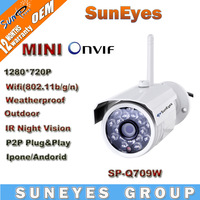SunEyes ONVIF Mini 720P HD IP Camera Outdoor Wireless Wifi Weatherproof Support P2P Plug Play IR CUT SP-Q709W