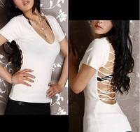 6145 Foxy 21 Hot Club Wear V-Neck Backless Strapy T-Shirt Top Deep V Knit Top T Shirt Slim Tight 100% Quality Guarantee Purple