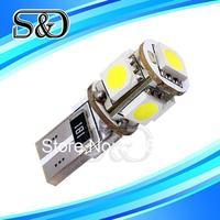 S&D Brand W5W T10 5 SMD Pure White CANBUS OBC No Error Interior Car  5 LED Light Bulb