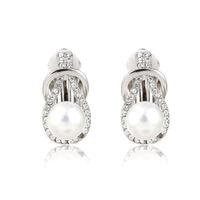 High Quality Fashion Pearl Clip Earrings With Rhinestones   TE-1-47