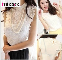 Free Shipping Ladies T-shirt Double Layers Gauze hollow-out sleeveless W4145
