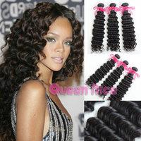 QNice hair brazil deep wave hair cheap brazil hair 3 pcs/lot wet and wavy brazil hair extensions