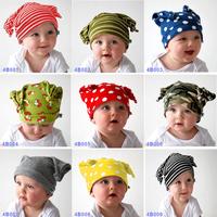 Free Shipping 5pcs/ lot 9 desings 100% Cotton double Layer Baby boy hat Classic Winter hat infant fashion cap Christmas headgear