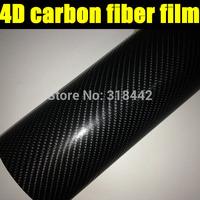Black 4D Carbon Fiber Vinyl Car Wrap Sticker / Size: 1.52m * 30 M/ Free & Fast Worldwide Shipping by FEDEX