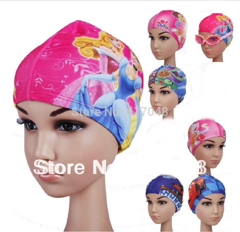 Плавательная шапочка 1pcs Children's cartoon ear cap senior Lycra swimming cap cute cartoon boys and girls swimming...