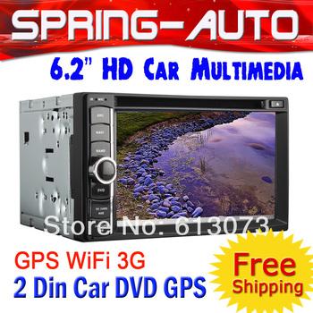 FreeShipping  2 Din 6.2 inch TFT Screen Auto Radio Multimedia Car DVD Player GPS univeral TV Bluetooth Radio Free GPS Map