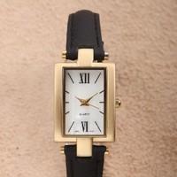 Free Shipping Women Retro Black Leather Strap Watch Ladies Fashion Rose Gold Square Case Analog Quartz Dress Wristwatch Hot Gift