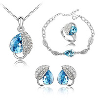 2013 new Fashion long necklaces pendants Austrian crystal jewelry denim dress - Acacia leaf necklace earring bracelet