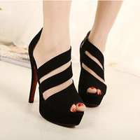 Free Shipping A2 New Arrival Romanesque High Heels Shoes for Women Flock Shoes Fish Mouth Open Toe Summer Female Sandals 630338