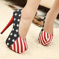Free Shipping Z2 USA Flag High Heel Pump Splicing Sapatos Women Shoes Stiletto Heel Big Size 9 Platform Female Pumps Red Bottoms