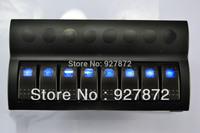 NEW 2PCS Rocker Switch Panel Waterproof Black 8 Gang Marine Boat Caravan Blue LED