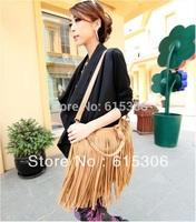 Women's Fashion Punk Fringe Tassel Handbag Shoulder Bag 4 Colors Black and Beige wholesale and retail Promation!
