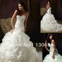ivory organza sexy sweetheart lace appliques ruffles long trains luxury crystal mermaid wedding dress